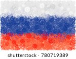 flag of russia with snowflakes. ... | Shutterstock .eps vector #780719389