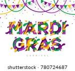 carnival mardi gras greeting...   Shutterstock .eps vector #780724687