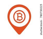 bitcoin map marker icon. vector ... | Shutterstock .eps vector #780730225