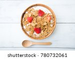 corn flakes with strawberry | Shutterstock . vector #780732061