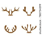 set of brown reindeer antlers... | Shutterstock . vector #780754399