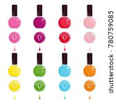 set of bright bottle nail... | Shutterstock .eps vector #780759085