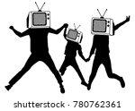 people instead of head tv ... | Shutterstock .eps vector #780762361