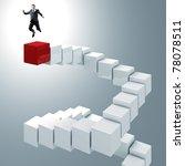 young businessman jump over 3d... | Shutterstock . vector #78078511