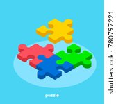 colorful puzzle on a blue... | Shutterstock .eps vector #780797221