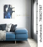 blue sofa and carpet in white... | Shutterstock . vector #780827587