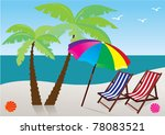 vector beach with umbrella ... | Shutterstock .eps vector #78083521