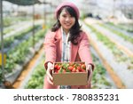 young asian girl in strawberry...   Shutterstock . vector #780835231