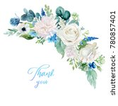 watercolor floral illustration  ... | Shutterstock . vector #780857401