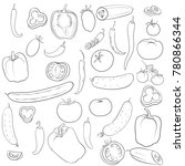 vector drawing peppers ... | Shutterstock .eps vector #780866344