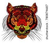 tiger head. adult antistress... | Shutterstock .eps vector #780874687