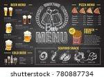 vintage chalk drawing beer menu ... | Shutterstock .eps vector #780887734