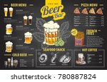 vintage chalk drawing beer menu ... | Shutterstock .eps vector #780887824
