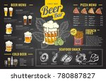 vintage chalk drawing beer menu ... | Shutterstock .eps vector #780887827