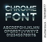 chrome metal vector font. steel ... | Shutterstock .eps vector #780908977