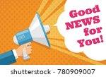 mans hand holding megaphone... | Shutterstock .eps vector #780909007