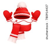 hat with pompom and scarf with... | Shutterstock .eps vector #780914437