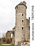 ruin of a old chateau in normandy france - stock photo