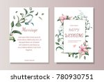 set of card with flowers ... | Shutterstock .eps vector #780930751