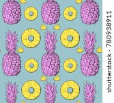 pastel pattern with pineapple ... | Shutterstock .eps vector #780938911