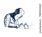 hand drawn logo welder black... | Shutterstock .eps vector #780944365