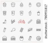 fast food line icons set   Shutterstock .eps vector #780951817
