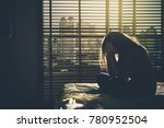 Depressed Women Sitting Head I...