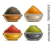 vector set of indian spices in... | Shutterstock .eps vector #780958315