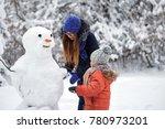 winter fun. a girl and a boy... | Shutterstock . vector #780973201