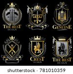 set of old style heraldry... | Shutterstock . vector #781010359
