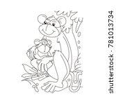 baby monkey sitting in a monkey ... | Shutterstock .eps vector #781013734