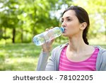 young healthy woman drinks...   Shutterstock . vector #78102205