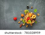 various dried fruits and nuts...   Shutterstock . vector #781028959