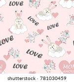 pattern cartoon for valentine's ... | Shutterstock .eps vector #781030459