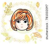 girls face  human head.... | Shutterstock . vector #781032097