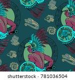 pattern of aztec warrior.... | Shutterstock .eps vector #781036504