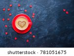 cup of coffee with heart shape...   Shutterstock . vector #781051675