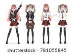 beautiful anime manga... | Shutterstock .eps vector #781055845