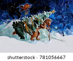 christmas applique postcard... | Shutterstock . vector #781056667