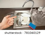 the hand points to the dirty... | Shutterstock . vector #781060129