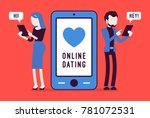 online dating chat. young man... | Shutterstock .eps vector #781072531
