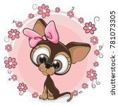 greeting card puppy girl with...   Shutterstock .eps vector #781073305