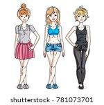 happy young women posing... | Shutterstock . vector #781073701