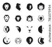 brave lion king faces emblems... | Shutterstock . vector #781075954