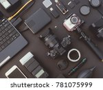 top view of work space... | Shutterstock . vector #781075999