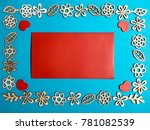 blank red card with wooden... | Shutterstock . vector #781082539