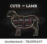 lamb cuts chart. sheeps or... | Shutterstock .eps vector #781090147