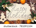 inscription happy holiday with... | Shutterstock . vector #781091104