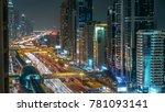 downtown dubai towers night... | Shutterstock . vector #781093141