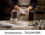 dessert cooking by chef hands...   Shutterstock . vector #781094389